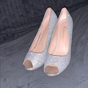 Super sparkly formal heels with peep toe!